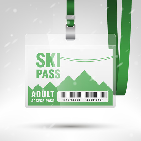 badge with ribbon: Ski pass vector illustration. Blank ski pass template with barcode in plastic holder with green lanyard. Lift cable, mountains and snow on the background. Horizontal layout.