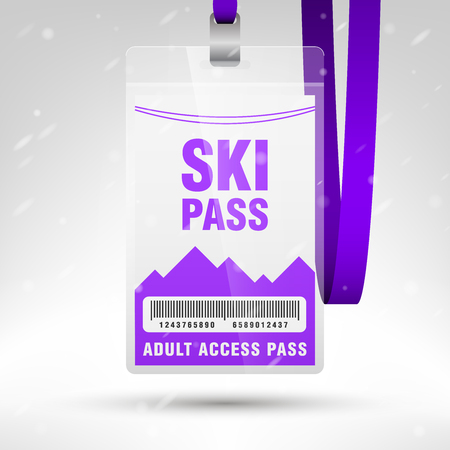 blank template: Ski pass vector illustration. Blank ski pass template with barcode in plastic holder with violet lanyard. Lift cable, mountains and snow on the background. Vertical layout. Illustration