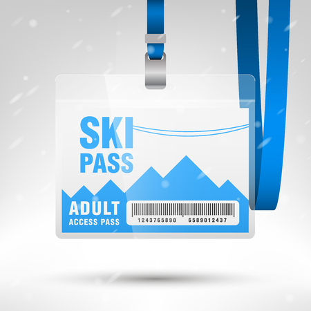 Ski pass vector illustration. Blank ski pass template with barcode in plastic holder with blue lanyard. Lift cable, mountains and snow on the background. Horizontal layout. Vettoriali