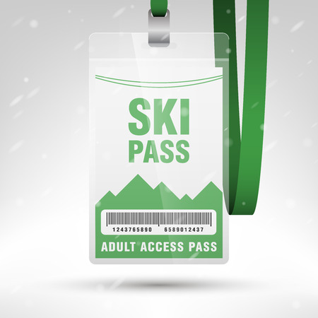 lanyard: Ski pass vector illustration. Blank ski pass template with barcode in plastic holder with green lanyard. Lift cable, mountains and snow on the background. Vertical layout. Illustration