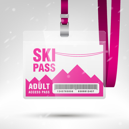 lanyard: Ski pass vector illustration. Blank ski pass template with barcode in plastic holder with pink lanyard. Lift cable, mountains and snow on the background. Horizontal layout.