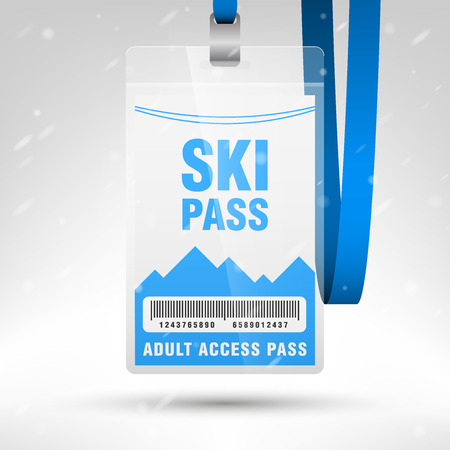 name: Ski pass vector illustration. Blank ski pass template with barcode in plastic holder with blue lanyard. Lift cable, mountains and snow on the background. Vertical layout.