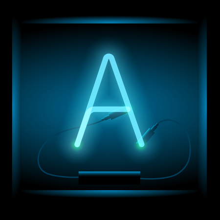 symol: Realistic neon letter A vector illustration. Glowing font. Blue light.