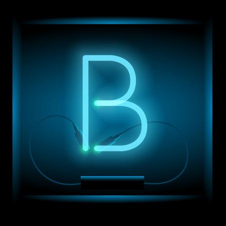 symol: Realistic neon letter B vector illustration. Glowing font. Blue light.