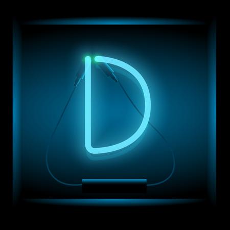 symol: Realistic neon letter D vector illustration. Glowing font. Blue light.
