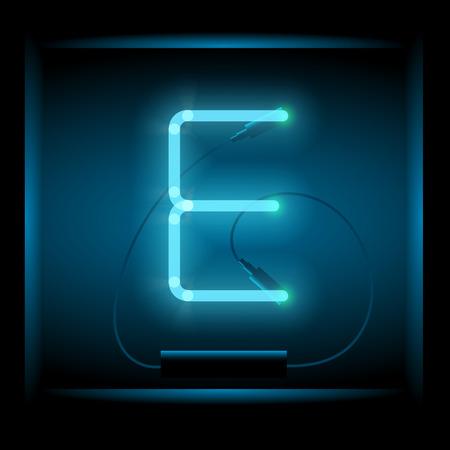 symol: Realistic neon letter E vector illustration. Glowing font. Blue light.