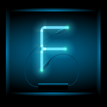 symol: Realistic neon letter F vector illustration. Glowing font. Blue light.