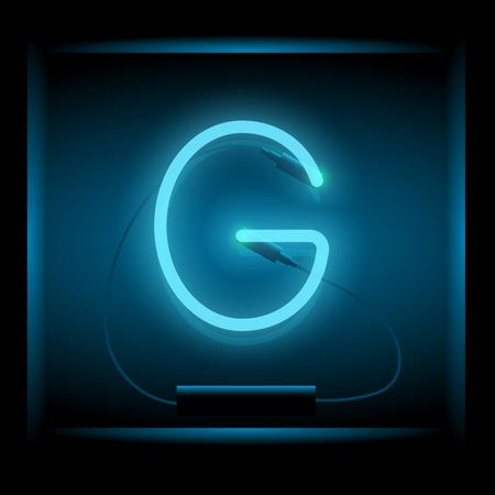 symol: Realistic neon letter G vector illustration. Glowing font. Blue light. Illustration