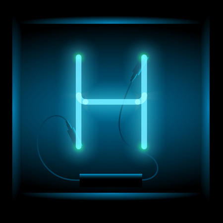 symol: Realistic neon letter H vector illustration. Glowing font. Blue light.