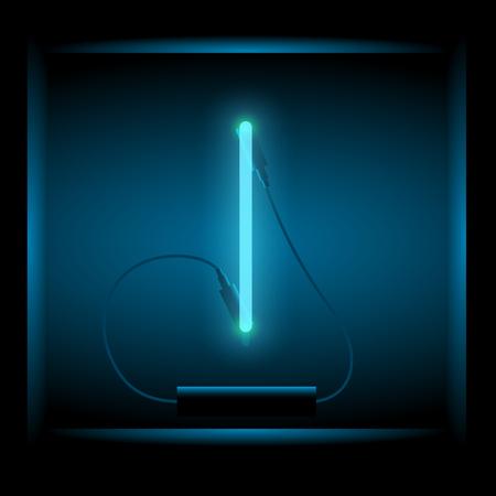 symol: Realistic neon letter I vector illustration. Glowing font. Blue light.