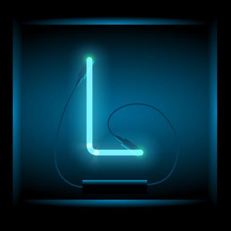 symol: Realistic neon letter L vector illustration. Glowing font. Blue light. Illustration