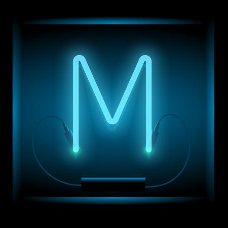 symol: Realistic neon letter M vector illustration. Glowing font. Blue light. Illustration