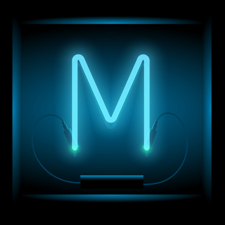 Realistic neon letter M vector illustration. Glowing font. Blue light. Illustration
