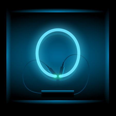 symol: Realistic neon letter O vector illustration. Glowing font. Blue light.