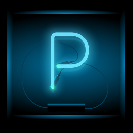 symol: Realistic neon letter P vector illustration. Glowing font. Blue light.