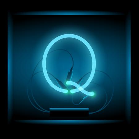 symol: Realistic neon letter Q vector illustration. Glowing font. Blue light.