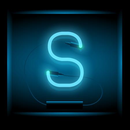 symol: Realistic neon letter S vector illustration. Glowing font. Blue light. Illustration