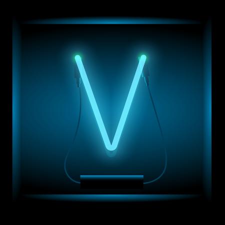 symol: Realistic neon letter V vector illustration. Glowing font. Blue light. Illustration