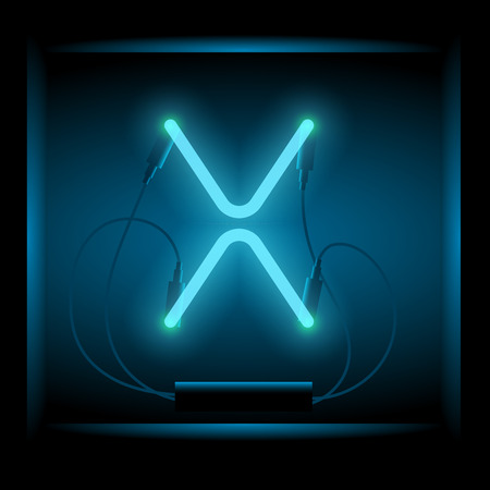 symol: Realistic neon letter X vector illustration. Glowing font. Blue light.