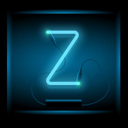 symol: Realistic neon letter Z vector illustration. Glowing font. Blue light. Illustration