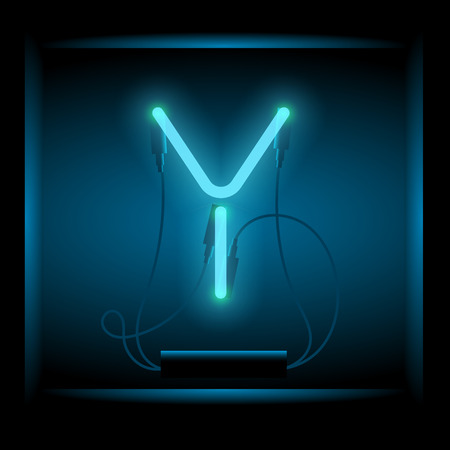old letter: Realistic neon letter Y vector illustration. Glowing font. Blue light.