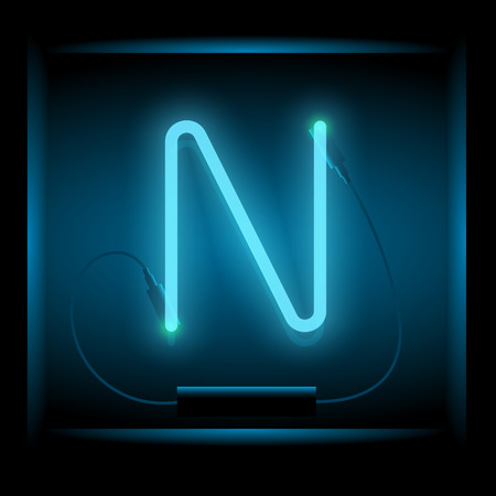 symol: Realistic neon letter N vector illustration. Glowing font. Blue light.