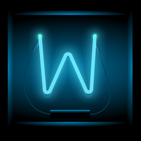 symol: Realistic neon letter W vector illustration. Glowing font. Blue light.