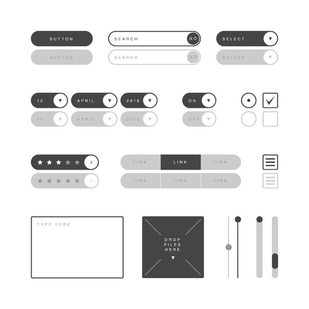 selector: UI design elements vector. Button, search field, selector, checkbox, toggle, radio button, menu links, rating stars, text type field, drop files field, scroller etc.
