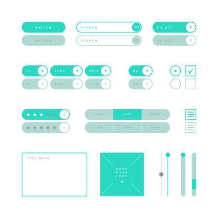 scroller: UI design elements vector. Button, search field, selector, checkbox, toggle, radio button, menu links, rating stars, text type field, drop files field, scroller etc.