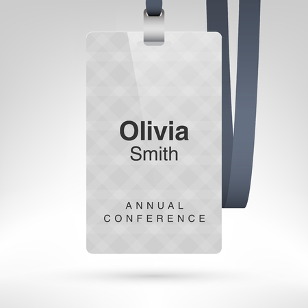 placeholder: Conference badge with name tag placeholder. Blank badge template in plastic holder with lanyard. Vector illustration.