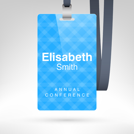 ide: Conference badge with name tag placeholder. Blank badge template in plastic holder with lanyard. Vector illustration.