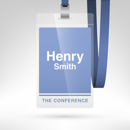 lanyard: Conference badge with name tag placeholder. Blank badge template in plastic holder with lanyard. Vector illustration.