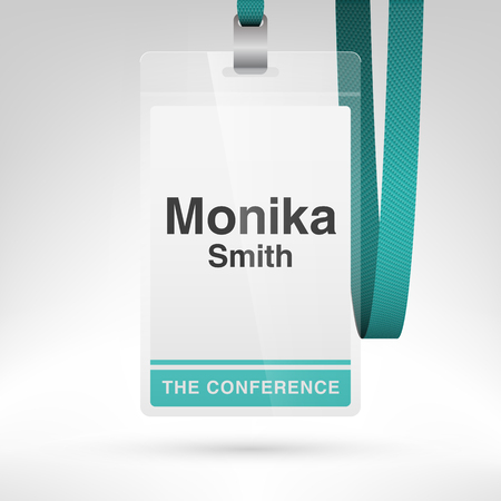 Conference Badge With Name Tag Placeholder. Blank Badge Template