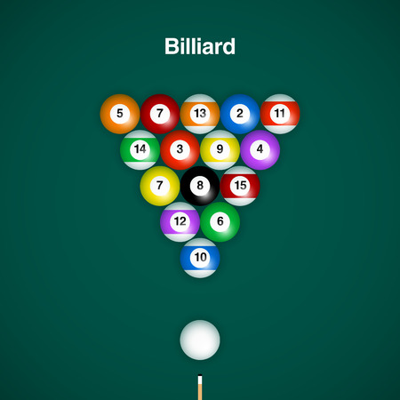 cue: Placed billiard balls on table with cue on green table background. Illustration