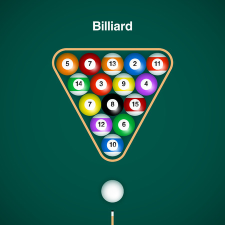 cue sticks: Placed billiard balls on table with cue and triangle on green table background.