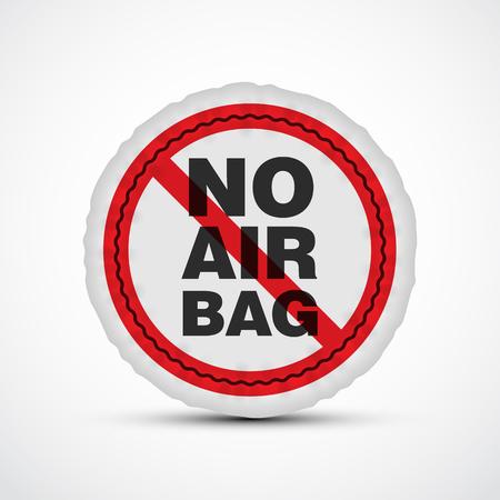 deployed: No airbag vector illustration. Isolated car safety cushion. Illustration