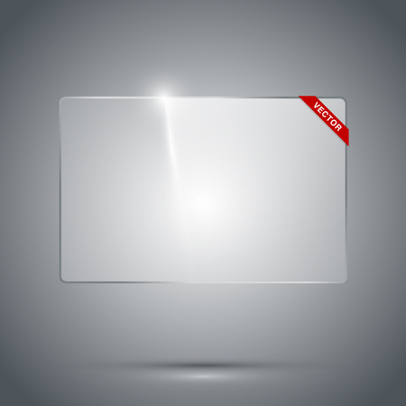 gloss: Transparent glass frame with reflection and refraction on the dark background. Isolated vector illustration.