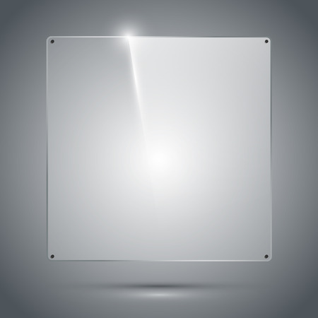 glass reflection: Transparent glass frame with reflection and refraction on the dark background. Isolated vector illustration.