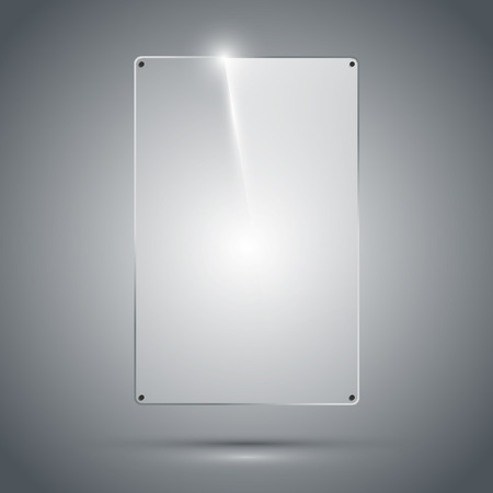 Transparent glass frame with reflection and refraction on the dark background. Isolated vector illustration.