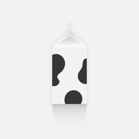 spot clean: White milk box with black spots vector illustration top view
