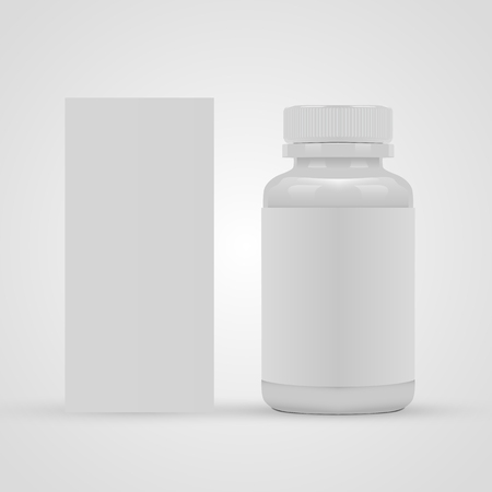 Blank pills container with blank label and package box isolated on white background. Vector illustration Illustration