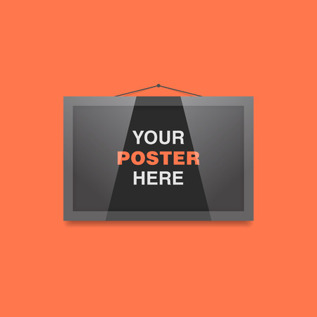 commercial painting: Poster in frame on the wall vector mockup