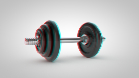 Stereoscopic dumbbell isolated on white background Stock Photo