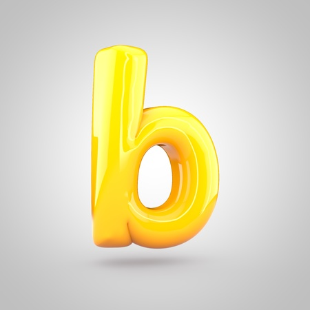 Glossy yellow paint letter B lowercase