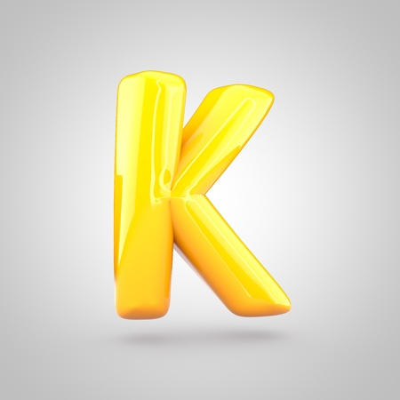 Glossy yellow paint letter K uppercase. 3D render of bubble twisted font with glint and ring light reflection isolated on white background. Stok Fotoğraf