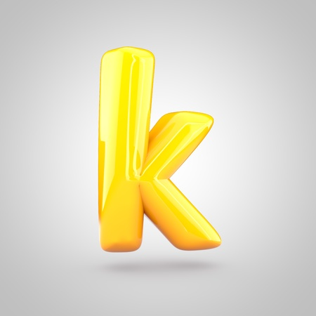 Glossy yellow paint letter K lowercase. 3D render of bubble twisted font with glint and ring light reflection isolated on white background. Stok Fotoğraf