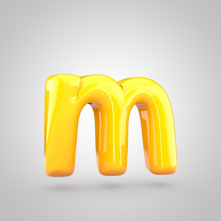Glossy yellow paint letter M lowercase. 3D render of bubble twisted font with glint and ring light reflection isolated on white background. Stock Photo