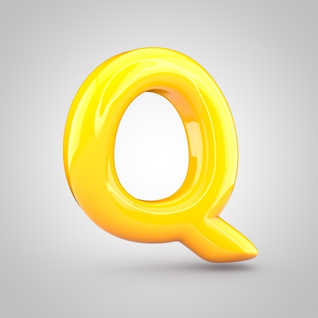 Glossy yellow paint letter Q uppercase. 3D render of bubble twisted font with glint and ring light reflection isolated on white background.