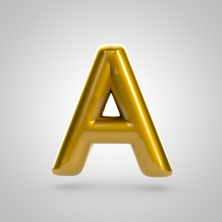 bubble gum: Metallic paint golden letter A uppercase. 3D rendering font with glint and lights reflections isolated on white background. Stock Photo