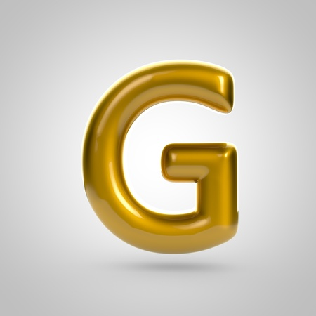Metallic paint golden letter G uppercase. 3D rendering font with glint and lights reflections isolated on white background.